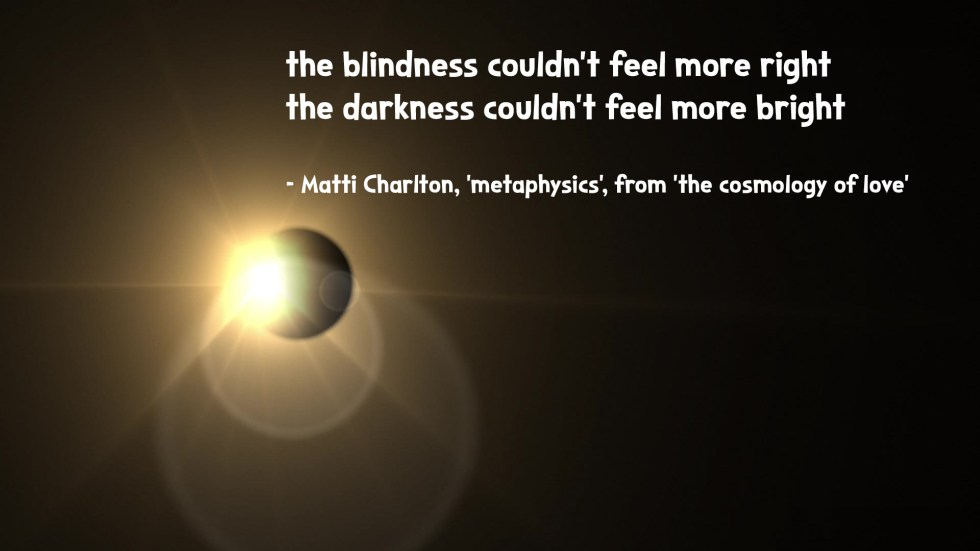 the cosmology of love poetry collection quote by Matti charlton on nasa space image background lens flare planet from sun