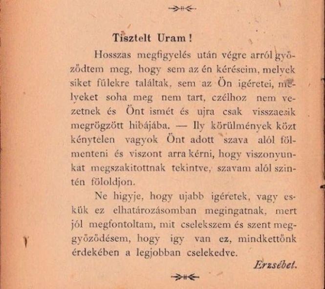 Udvarias szakító levél a 19. századból