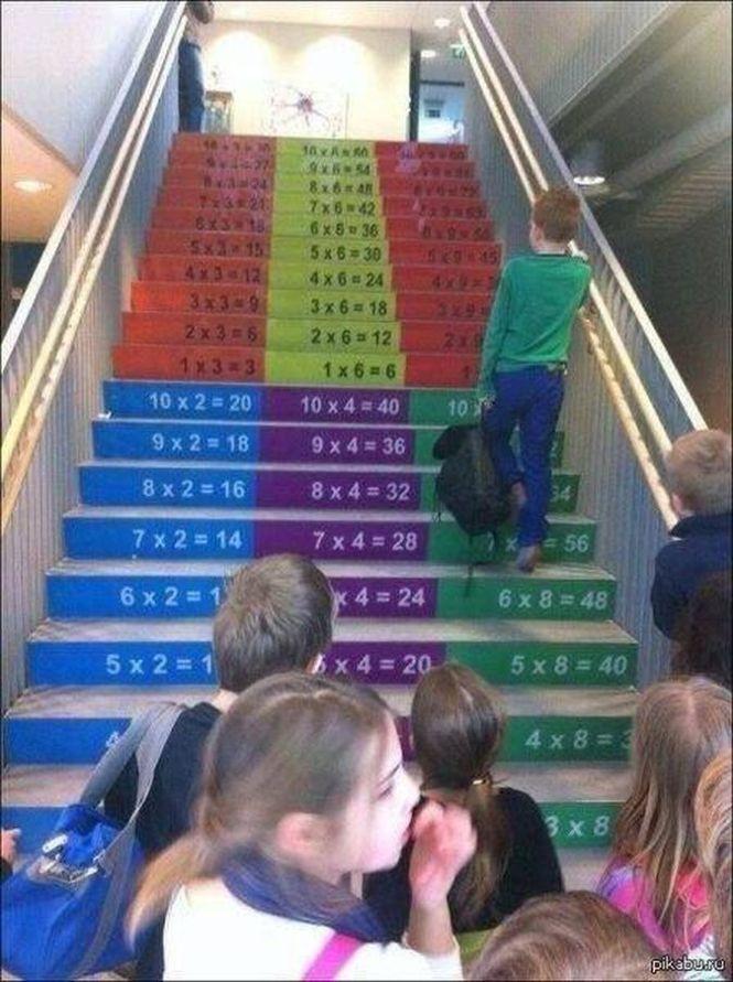 Szorzótáblás lépcső a suliban