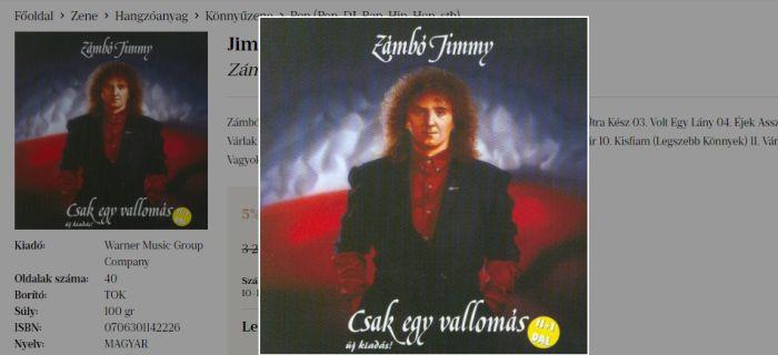 Szívszorító dalok Zámbó Jimmy Csak egy vallomás CD-jén