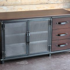 Industrial Kitchen Hardware Stand Alone Island Ellis Console With Drawers  Vintage Furniture