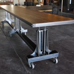 Industrial Dining Table And Chairs Retro Chrome Post Base  Vintage Furniture