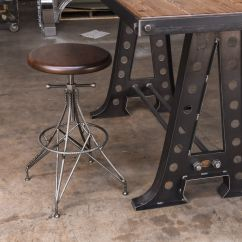 Kitchen Chairs With Casters Floor Tile For Rebar Stool - Vintage Industrial Furniture