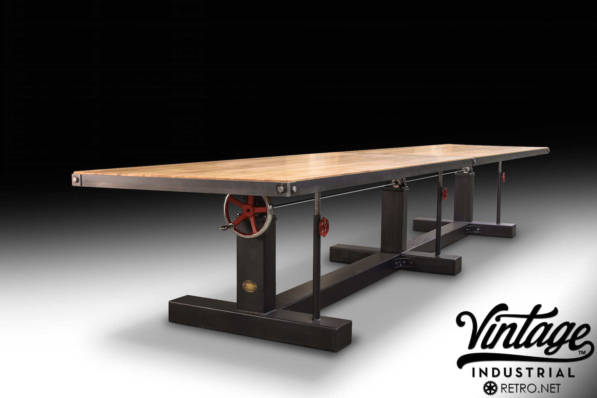 kitchen islands with seating and storage cabinets dayton ohio crank conference table – model #ck23 vintage industrial ...