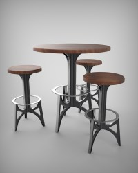 Retro Futuristic Chair & Tables  Vintage Industrial Furniture