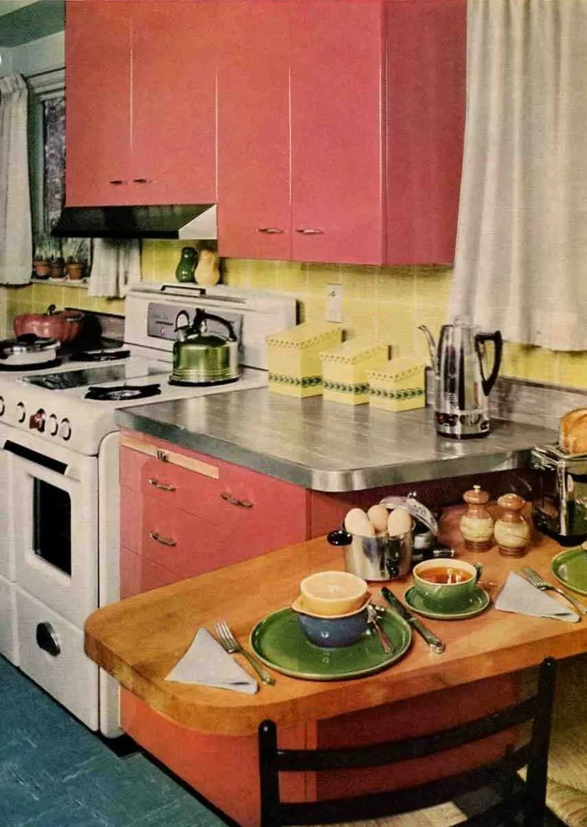 Rose Red 50s steel kitchen  and a tile you can get today  Retro Renovation