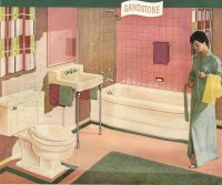 A pink and brown 50s bathroom - soothing, pretty and retro ...