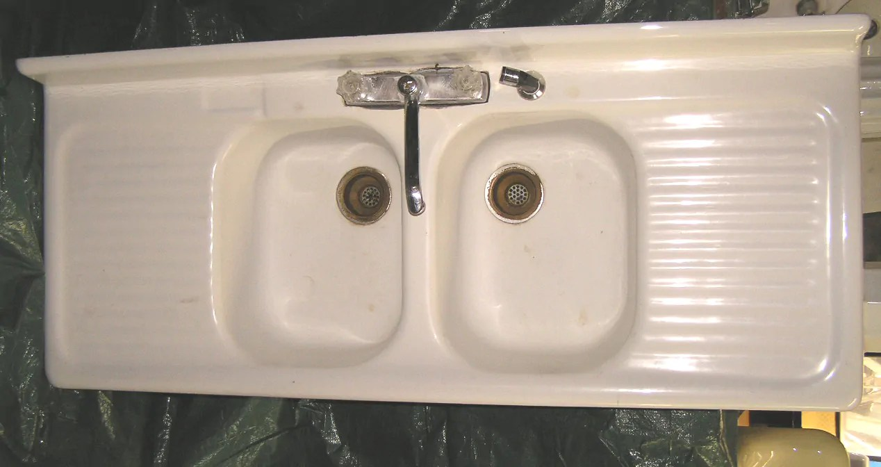 cast iron kitchen sinks for sale cabinet home depot vintage style drainboard - retro renovation