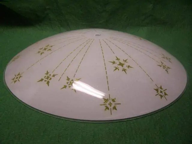 Antique Ecru Painted Glass Lamp Shade For Early Electric Vintage Ceiling Fixture Light