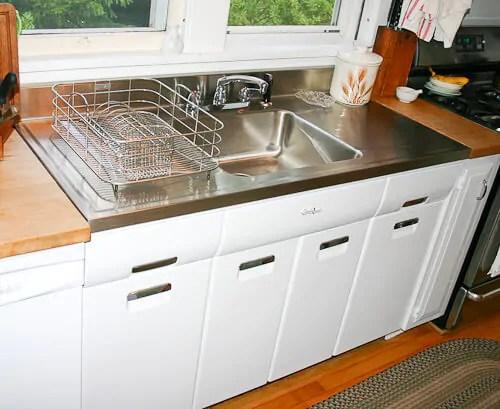 kitchen sink refinishing porcelain waffle weave towels vintage style drainboard sinks - retro renovation