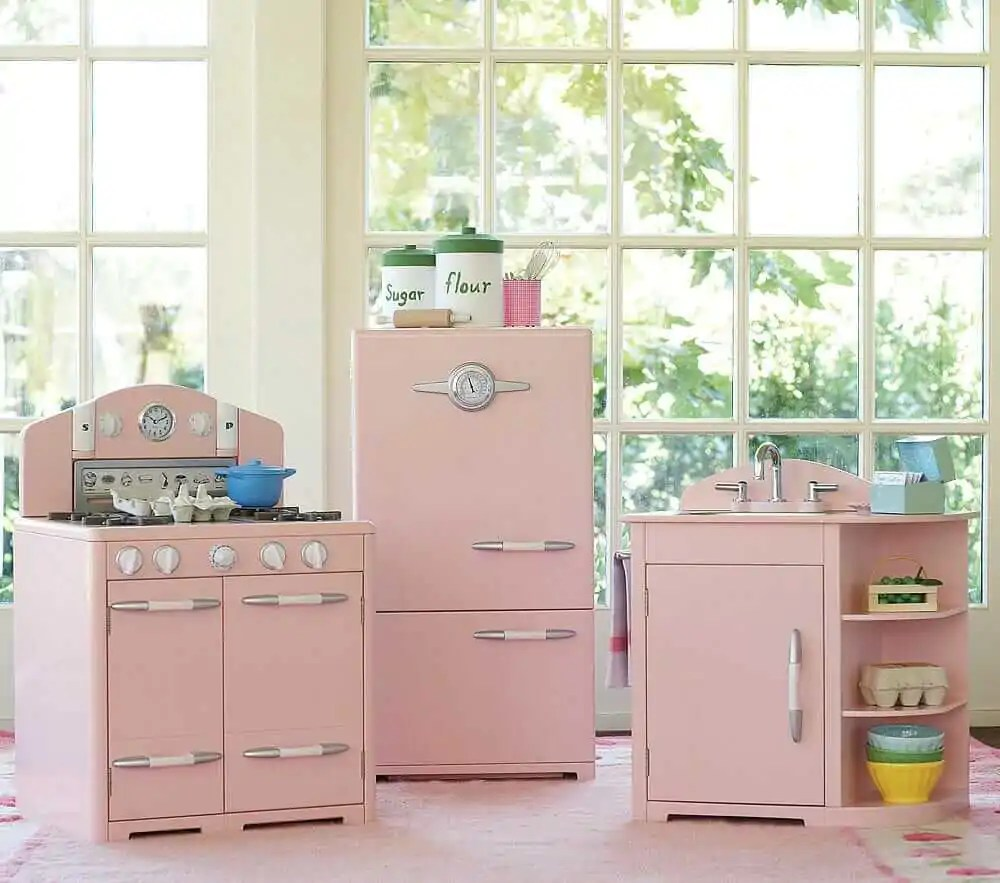 A retro pink kitchen at Pottery Barn too bad its for