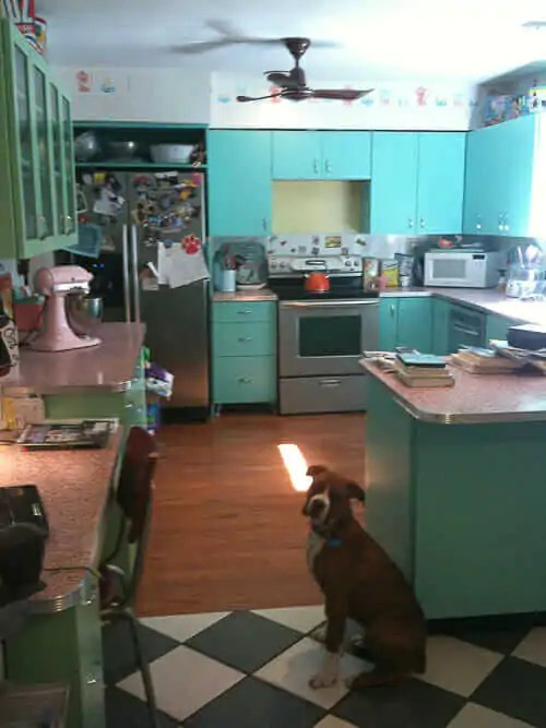 6 ideas from Karens retro kitchen remodel  including pink terrazzo countertops  Retro Renovation