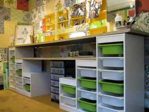 Multi-Use Rooms IKEA Trofast Storage Shelves and Buckets Craft Room Ideas