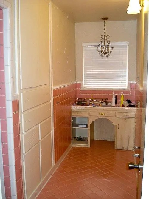From French Provincial to Retro Modern Mike and Lindseys pink bathroom before  after  Retro