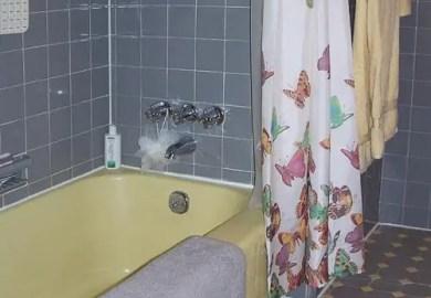 Yellow Tile And Gray Bathroom