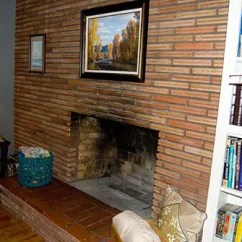 Living Room Fireplace Off Centered Houzz Grey What To Do With An Center Roman Brick Retro Renovation
