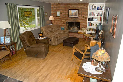 living room fireplace off centered used furniture sale what to do with an center roman brick retro renovation before