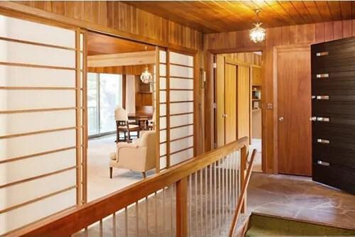 1957 Minnesota Time Capsule House Shoji Screens Chinoiserie | Mid Century Modern Handrail | Cantilevered Spiral Stair | Art Deco | Modern Walnut | Tree Branch | Railing