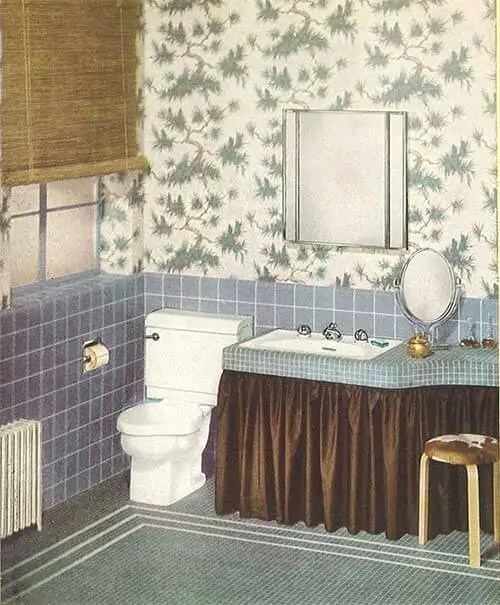 Black Trellis Wallpaper 24 Pages Of Vintage Bathroom Design Ideas From Crane