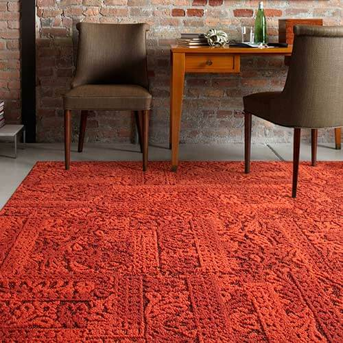 70s house style  new chenille carpet squares by FLOR