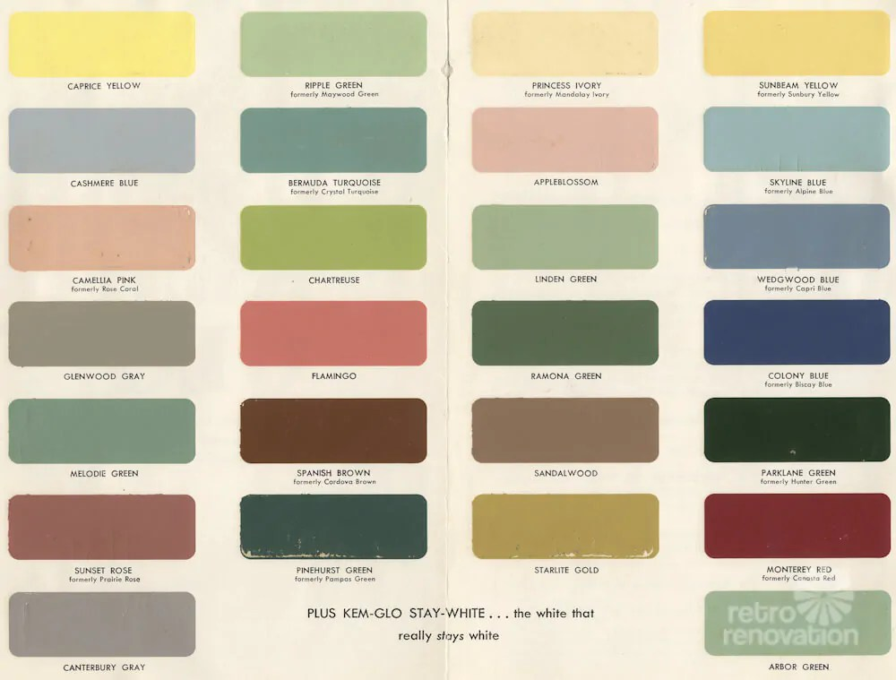 1954 Paint Colors For Kitchens Bathrooms And Moldings Retro