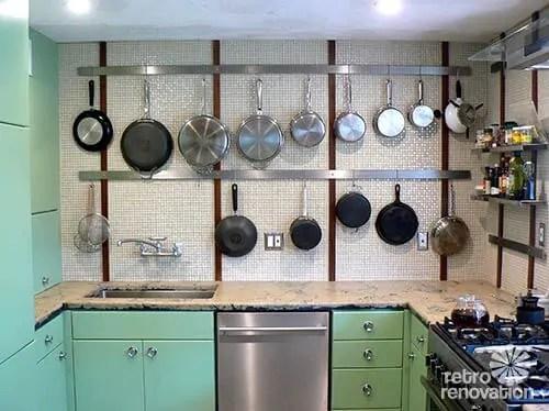 pegboard as pot rack in vintage kitchens