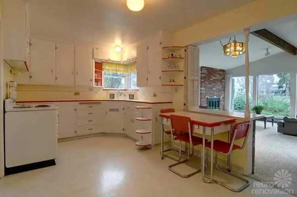 red and white vintage kitchen Same owners for 70+ years, this 1940 Seattle time capsule