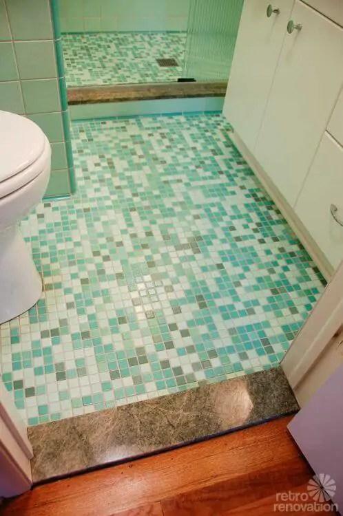 Rebeccas midcentury bathroom remodel using Nemo tiles
