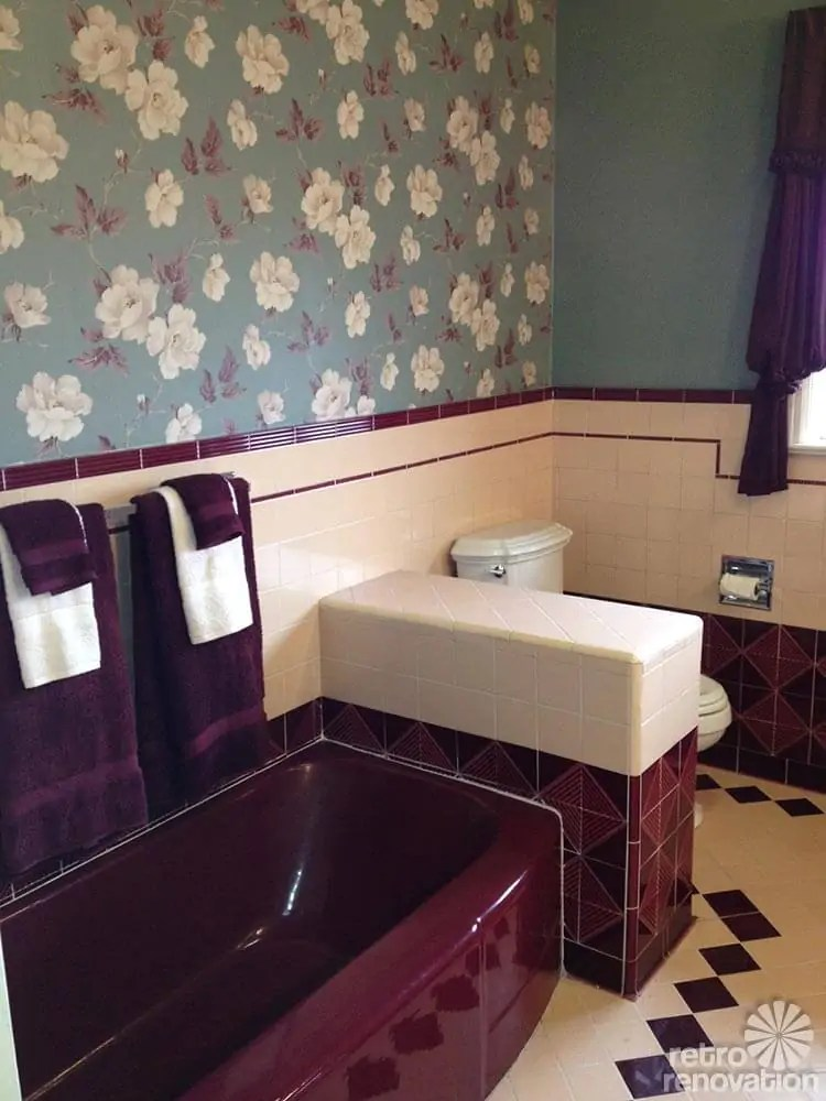 Jodi saves her 1949 maroon and pink bathroom with amazing vintage tile  Retro Renovation