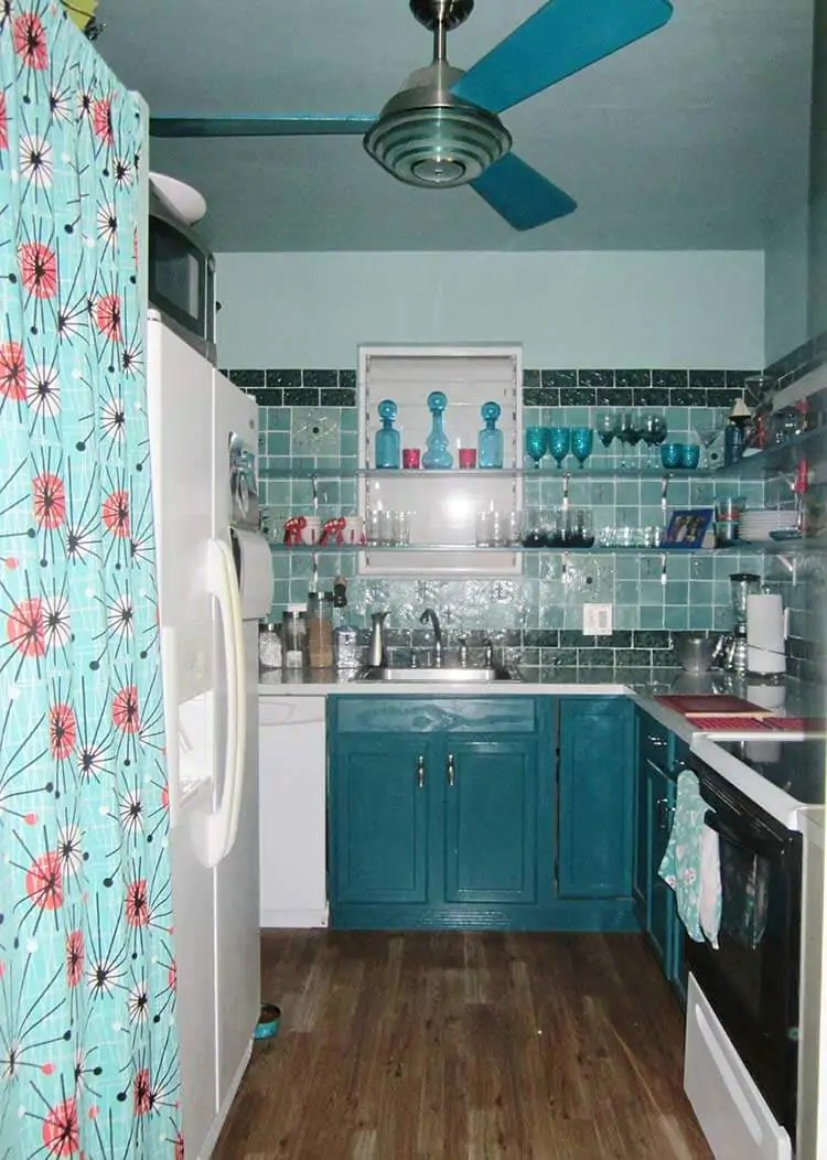 teal kitchen appliances lowes copper sink luru's midcentury sci-fi dream - with art tiles ...