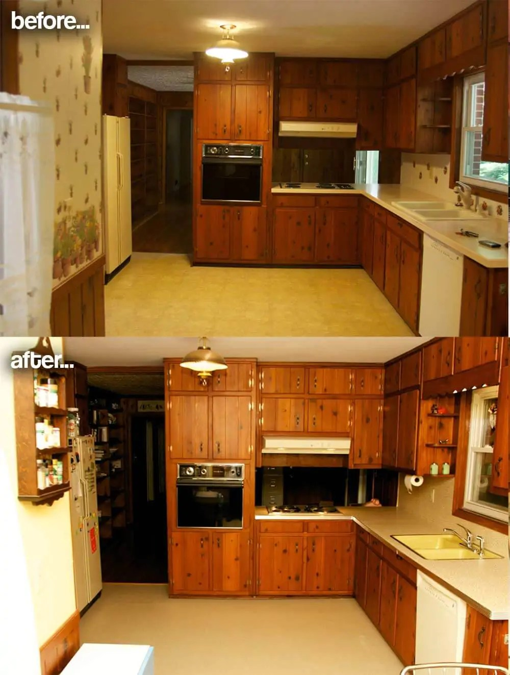 cheap kitchen flooring viking appliances amber's 1961 knotty pine before and after retro ...