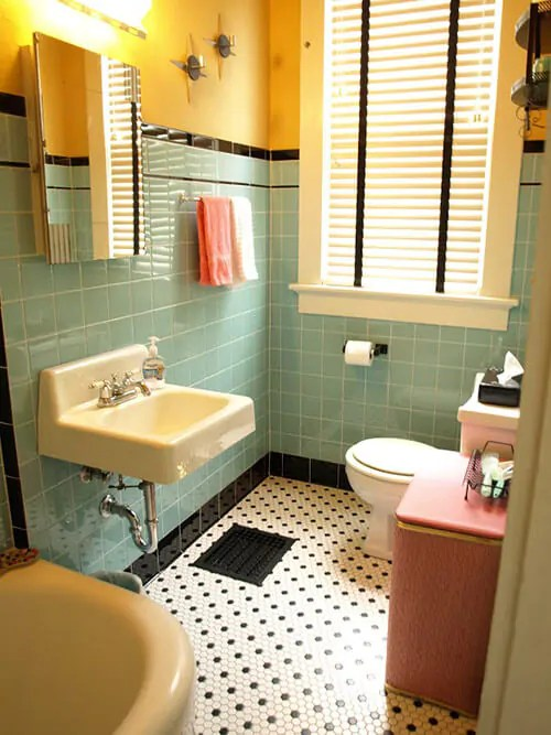 Kristen and Pauls 1940s style aqua and black tile bathroom built from scratch  Retro Renovation