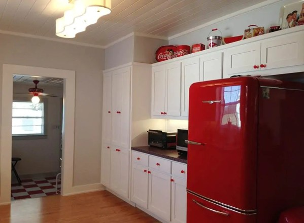 red and white vintage kitchen Elizabeth's red and white kitchen and Cath Kidston cowboy