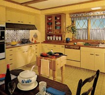 1970s Kitchen Design - Harvest Gold Decorated