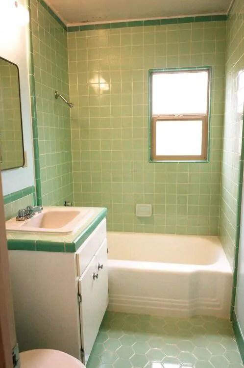 Lauras green BW Tile bathroom remodel in progress  Retro Renovation