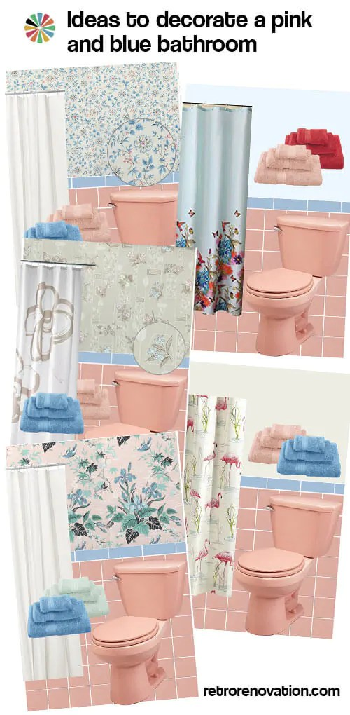 13 ideas to decorate a pink and blue tile bathroom  Retro Renovation