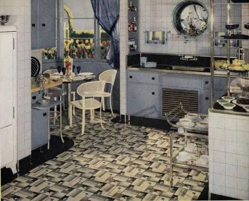 linoleum kitchen flooring storage cabinets with doors 21 early 1940s interior designs by hazel del brown of ...