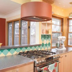 Retro Kitchen Tile Backsplash Hotels With Kitchens In Rooms A Colorful Midcentury Remodel Featuring B&w ...