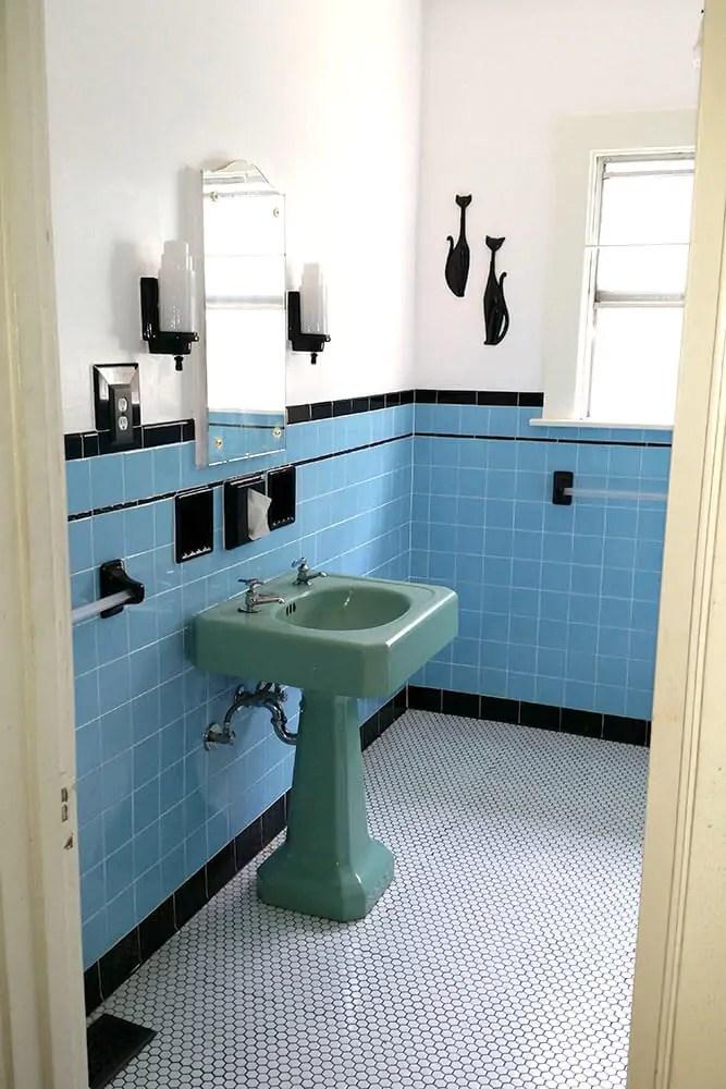 Laura  Tims beautiful blue bathroom remodel  Retro Renovation