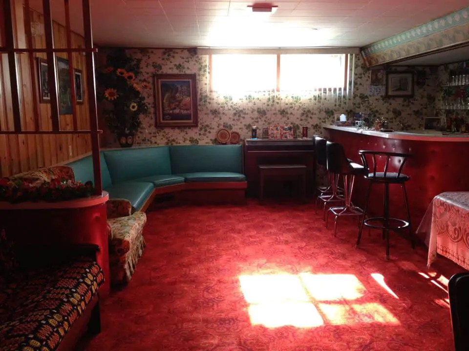 awesome living room wallpaper stylish chairs 1957 time capsule basement rumpus - downstairs in the ...