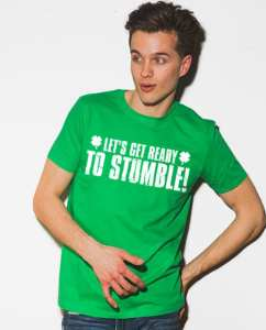 This is the main model photo for the St Patricks Day Shirts: Let's Get Ready To Stumble!