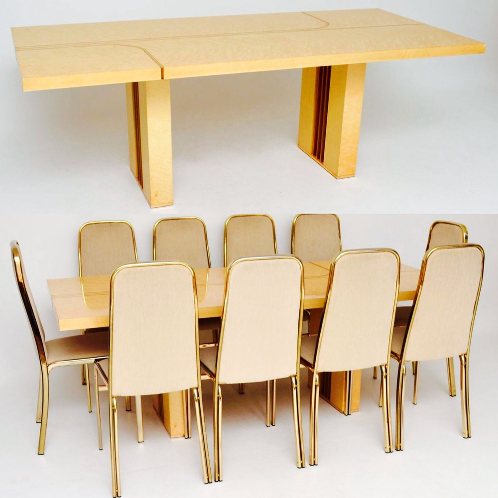 Italian Dining Chairs Retro Italian Maple Brass Dining Table Chairs By Zevi Vintage 1970 S