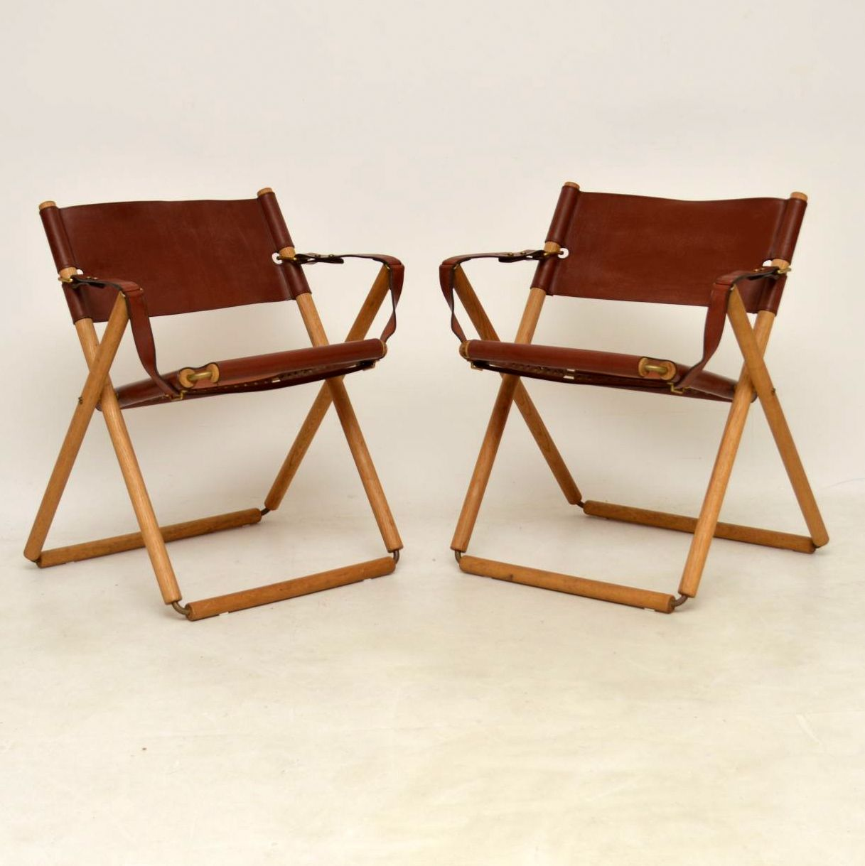 Safari Chairs Pair Of Danish Vintage Leather Folding Safari Chairs