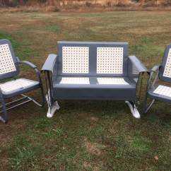 Old Fashioned Metal Lawn Chairs How To Install Hanging Chair Powdercoated Restored Vintage Patio Gliders