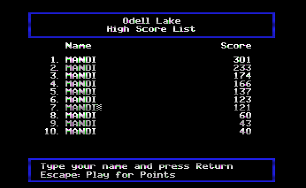 Odell Lake high score