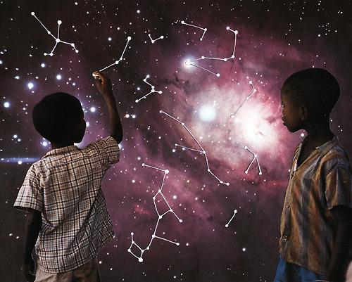 Sci Fi Cosmic Art Hand Made Collage Joe Webb Artist UK - Map to Stars