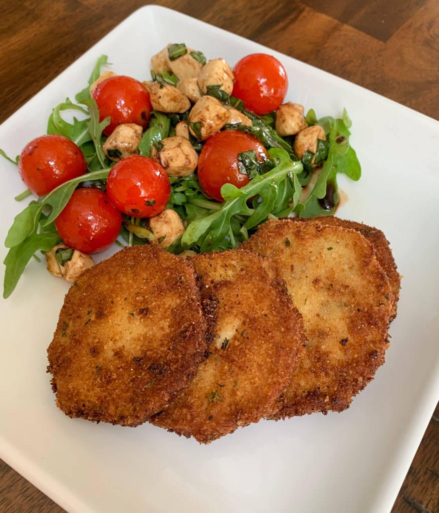 Fried Eggplant with Arugula Caprese Salad
