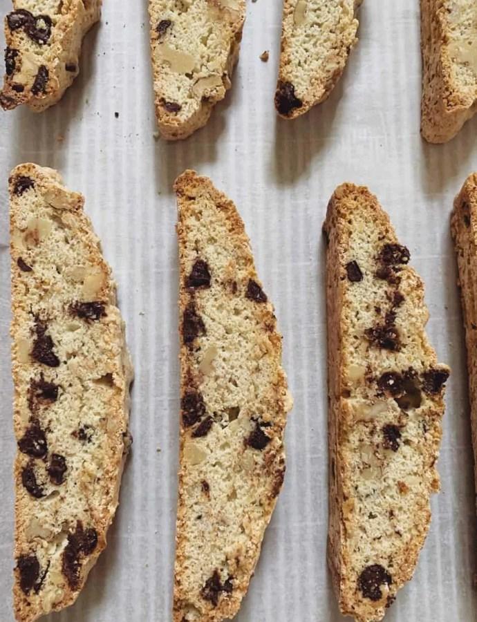 Dark Chocolate Walnut Biscotti