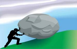 Difficulty – Man pushing a rock uphill – Blog post 20-Aug-2014