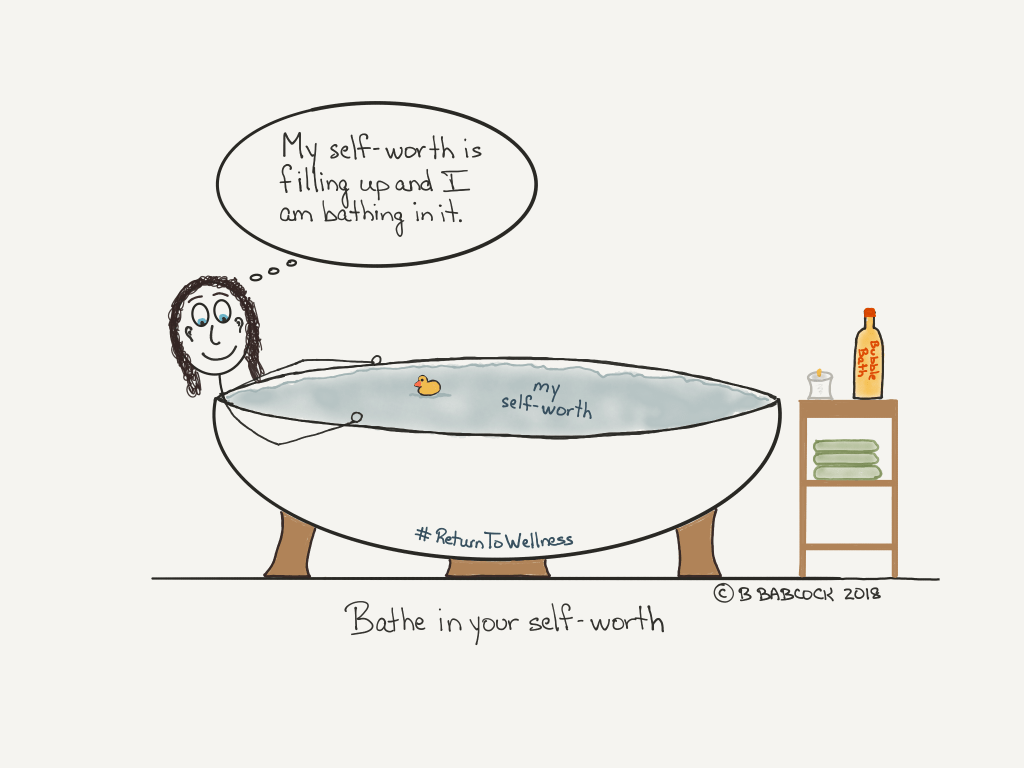 Pic of a woman in a bath and the water is her self-worth. Bathing in your self-worth is something important to do to contribute to your health.